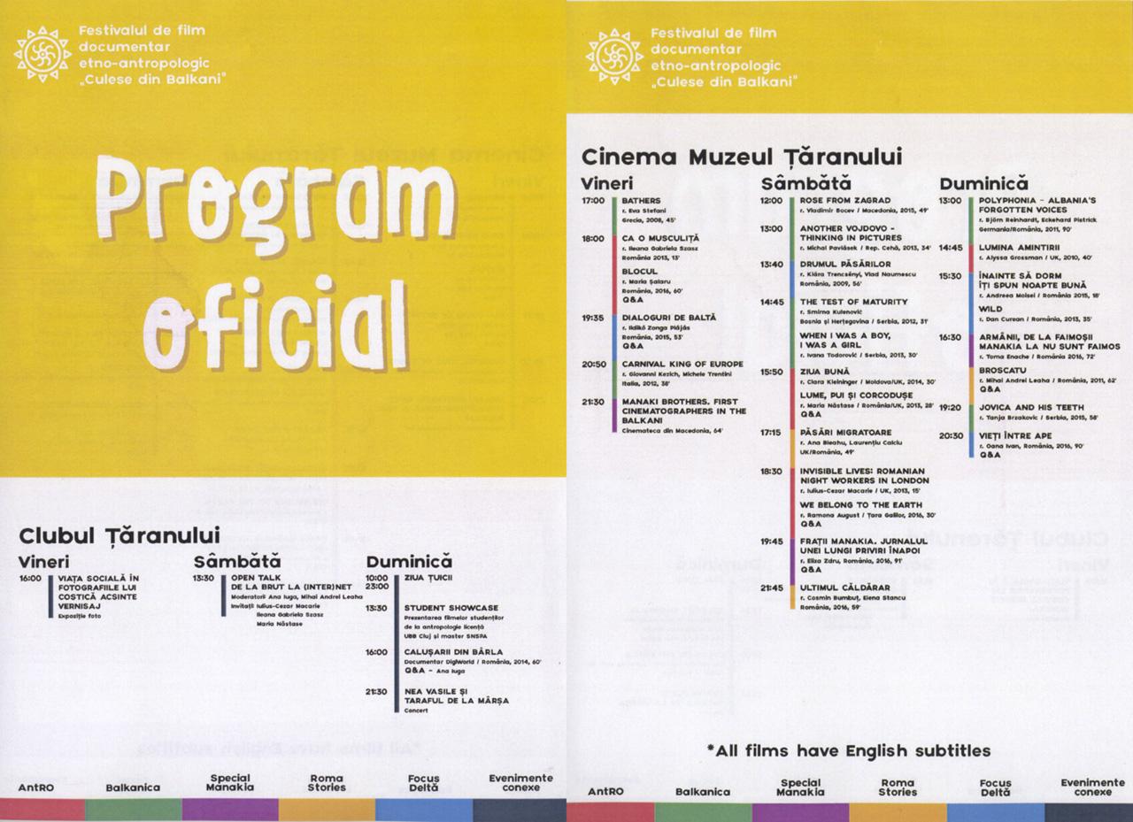 Programul oficial Culese din Balkani